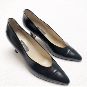 Bally Black Pointed Toe Pumps Heels Made in Italy